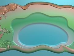 CP235荷鸳茶盘雕刻图案荷鸳茶盘灰度图荷鸳茶盘浮雕图荷鸳茶盘精雕图下载