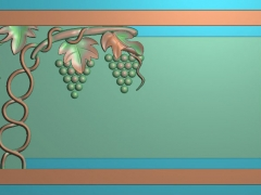 CP242葡萄茶盘雕刻图案葡萄茶盘灰度图葡萄茶盘浮雕图葡萄茶盘精雕图下载