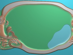 CP250跃鱼茶盘雕刻图案跃鱼茶盘灰度图跃鱼茶盘浮雕图跃鱼茶盘精雕图下载