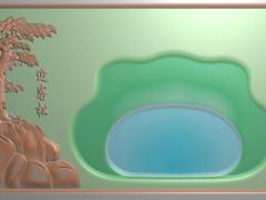 CP251迎客松茶盘雕刻图案迎客松茶盘灰度图迎客松茶盘浮雕图迎客松茶盘精雕图下载