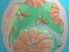CP253金鱼荷花茶盘雕刻图案金鱼荷花茶盘灰度图金鱼荷花茶盘浮雕图金鱼荷花茶盘精雕图下载