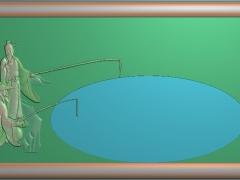 CP254钓鱼茶盘雕刻图案钓鱼茶盘灰度图钓鱼茶盘浮雕图钓鱼茶盘精雕图下载
