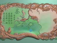 CP255锦鸡海鲜葡萄茶盘雕刻图案锦鸡海鲜葡萄茶盘灰度图锦鸡海鲜葡萄茶盘浮雕图锦鸡海鲜葡萄茶盘精雕图下载
