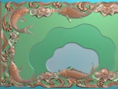 CP265鱼欢茶盘雕刻图案鱼欢茶盘灰度图鱼欢茶盘浮雕图鱼欢茶盘精雕图下载
