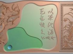 CP266鱼纹饰茶盘雕刻图案鱼纹饰茶盘灰度图鱼纹饰茶盘浮雕图鱼纹饰茶盘精雕图下载