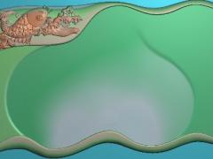 CP270鱼纹饰茶盘雕刻图案鱼纹饰茶盘灰度图鱼纹饰茶盘浮雕图鱼纹饰茶盘精雕图下载