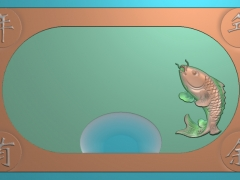 CP275鲤鱼茶盘雕刻图案鲤鱼茶盘灰度图鲤鱼茶盘浮雕图鲤鱼茶盘精雕图
