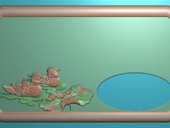 CP278-鸳鸯茶盘雕刻图案鸳鸯茶盘灰度图鸳鸯茶盘浮雕图鸳鸯茶盘精雕图