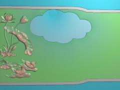 CP279-鸳鸯荷花茶盘雕刻图案鸳鸯荷花茶盘灰度图鸳鸯荷花茶盘浮雕图鸳鸯荷花茶盘精雕图