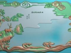 CP282-鹿松树茶盘雕刻图案鹿松树茶盘灰度图鹿松树茶盘浮雕图鹿松树茶盘精雕图