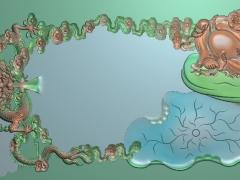 CP283-龙佛茶盘雕刻图案龙佛茶盘灰度图龙佛茶盘浮雕图龙佛茶盘精雕图