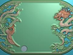 CP284-龙凤茶盘雕刻图案龙凤茶盘灰度图龙凤茶盘浮雕图龙凤茶盘精雕图