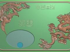 CP285-龙凤茶盘雕刻图案龙凤茶盘灰度图龙凤茶盘浮雕图龙凤茶盘精雕图