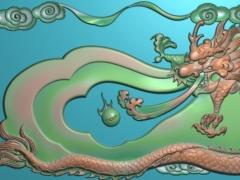 CP286-龙吐珠茶盘雕刻图案龙吐珠茶盘灰度图龙吐珠茶盘浮雕图龙吐珠茶盘精雕图
