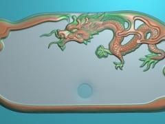 CP291-龙茶盘雕刻图案龙茶盘灰度图龙茶盘浮雕图龙茶盘精雕图