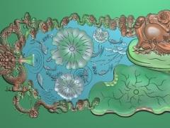 CP295-龙鱼荷佛茶盘雕刻图案龙鱼荷佛茶盘灰度图龙鱼荷佛茶盘浮雕图龙鱼荷佛茶盘精雕图
