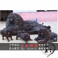 玻璃钢仿铜藏獒犬雕塑保护动物主题户外城市公园步行街装饰品摆件