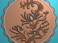YB019花开富贵月饼模具雕刻图花开富贵月饼模具灰度图花开富贵月饼模具精雕图下载