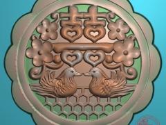 YB029鸳鸯戏水月饼模雕刻图鸳鸯戏水月饼模灰度图鸳鸯戏水月饼模精雕图下载