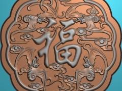 YB040中秋月饼五福模具雕刻图中秋月饼五福模具灰度图中秋月饼五福模具精雕图下载