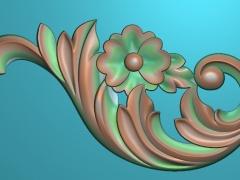 JH064洋花角花雕刻图洋花角花灰度图洋花角花牛腿浮雕图洋
