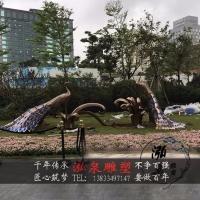不锈钢金属铁艺创意抽象动物孔雀雕塑户外公园广场草坪美陈装饰品