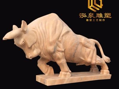 石雕牛晚霞红大型动物牛雕塑酒店广
