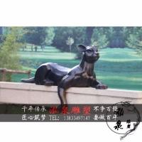 玻璃钢仿铜金钱豹雕塑仿真哺乳动物猎豹户外公园广场美陈装饰摆件