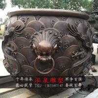 铸铜龙纹狮头水缸鱼缸仿古铜雕故宫蓄水缸户外园林景观装饰品摆件