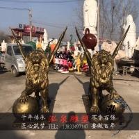 玻璃钢仿铜欧式狮子一对带翅膀脚踩球动物雕塑园林广场景观装饰品
