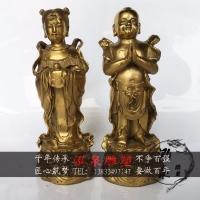 铸铜送子观音坐下弟子金童玉女佛像寺庙供奉旺财送子风水装饰摆件