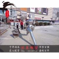 不锈钢镜面创意抽象人物购物逛街情景雕塑城市商场步行街迎宾摆件