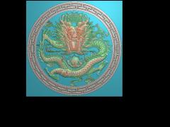 HRBJ018- 圆盘龙 摆件浮雕图设计 圆盘龙 摆件雕刻图制作 圆盘龙 摆件精雕图下载地址