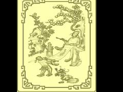 HRBJ030- 琴棋书画 摆件浮雕图设计 琴棋书画 摆件雕刻图制作 琴棋书画 摆件精雕图下载地址