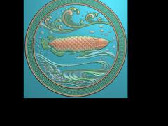 HRBJ040- 金龙鱼 摆件浮雕图设计 金龙鱼 摆件雕刻图制作 金龙鱼 摆件精雕图下载地址