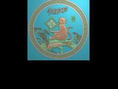 HRBJ042- 金猴献瑞 摆件浮雕图设计 金猴献瑞 摆件雕刻图制作 金猴献瑞 摆件精雕图下载地址