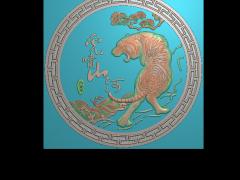 HRBJ045- 虎啸山河 摆件浮雕图设计 虎啸山河 摆件雕刻图制作 虎啸山河 摆件精雕图下载地址