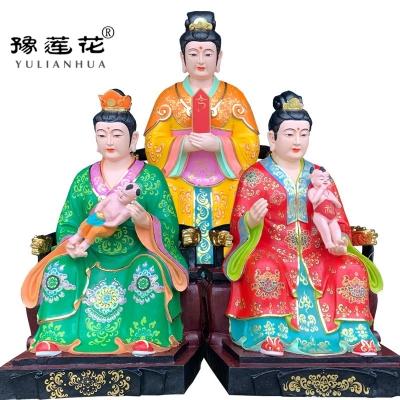 三霄娘娘神像道教三仙姑神像极彩工艺三霄仙子神像送子娘娘神像
