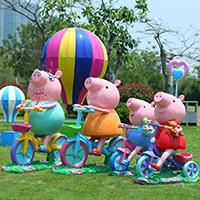BLG1679-玻璃钢卡通动物雕塑_小猪佩奇彩绘雕塑_影视动漫卡通雕塑哪里有