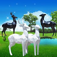 BLG717-玻璃钢小鹿雕塑_玻璃钢仿真小鹿雕塑哪里有