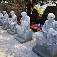 XFGS1217-十八罗汉石雕塑像加工厂