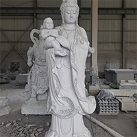 XFGS1852-送子观音石雕塑像制作厂家