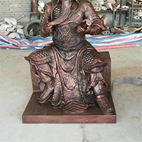 XFGS2466-铜雕关公像_关二爷铜像_武财神铜雕像生产厂家