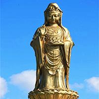 XFGS542-观音菩萨站像铜雕塑厂