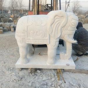 【石雕动物系列085】石雕大象厂