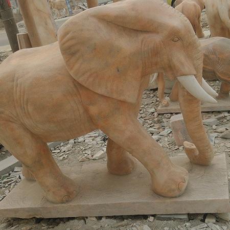 【石雕动物系列379】黄锈石雕刻大象雕刻厂