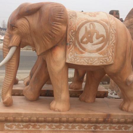 【石雕动物系列380】黄锈石雕刻大象批发