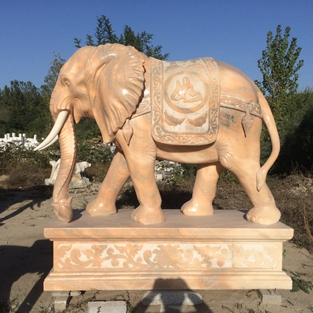 【石雕动物系列382】黄锈石雕刻大象定做