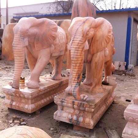 【石雕动物系列385】黄锈石雕刻大象雕刻厂