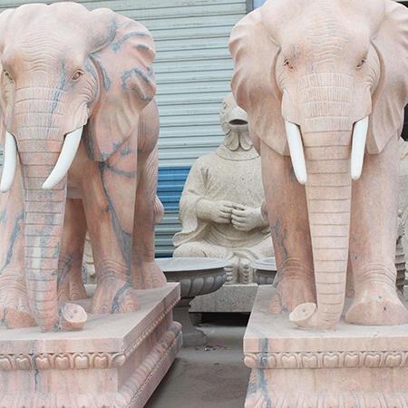 【石雕动物系列392】黄锈石雕刻大象批发